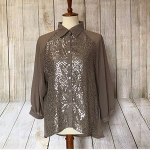 Sequin and sheer button down top